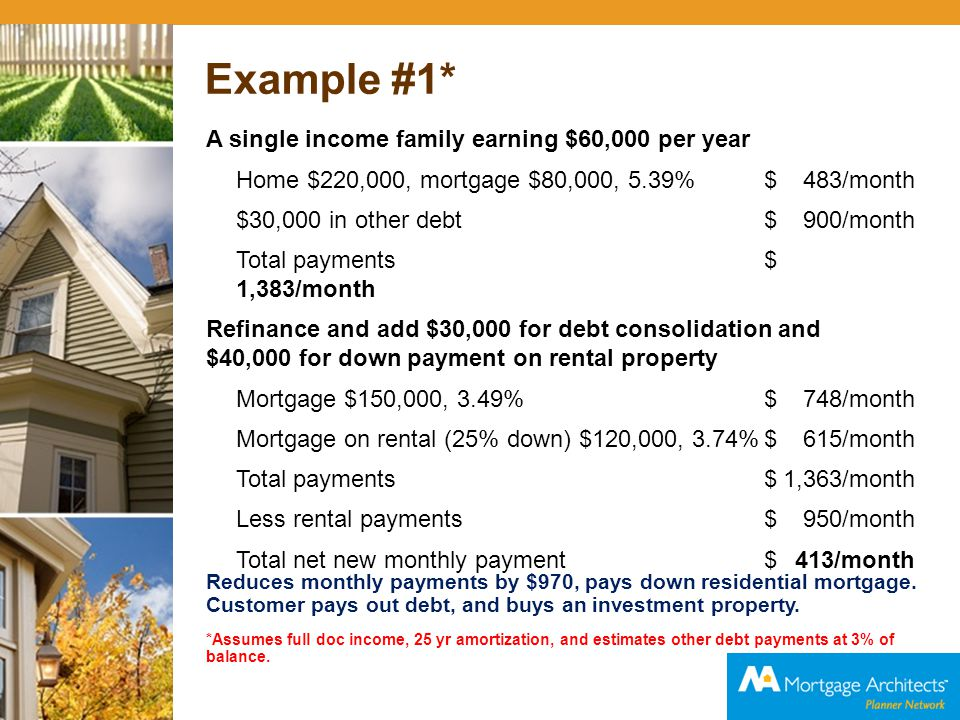 Example #2* Young couple; self employed and salaried with 2 children $80,000 income with no pensions and minimal RRSPs Home $185,000, mortgage $112,000, 3.49%$676/month $4,500 in other debt $135/month Total payments$811/month Equity take out to 85% of appraised value and include CMHC fee (1.75%) New mortgage at 3.49% for $160,000 $798/month Funds from equity take out = $45,000 Pay off debt $ 4,500 Available for rental property $40,500 Purchase rental at $175,000, mortgage $114,000, At 3.75% with 20% down payment $718/month Less rental income$1,000/month Total net mortgage payment$516/month Difference is $295 per month you save.