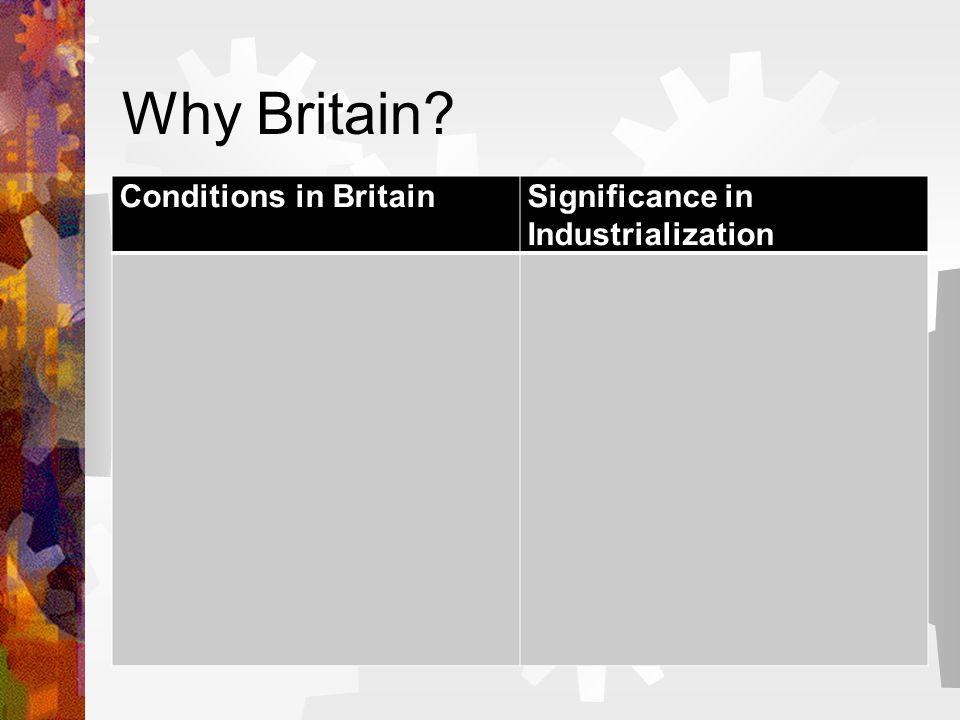 Why Britain? Conditions in BritainSignificance in Industrialization
