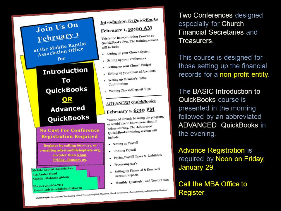 Two Conferences designed especially for Church Financial Secretaries and Treasurers. This course is designed for those setting up the financial record