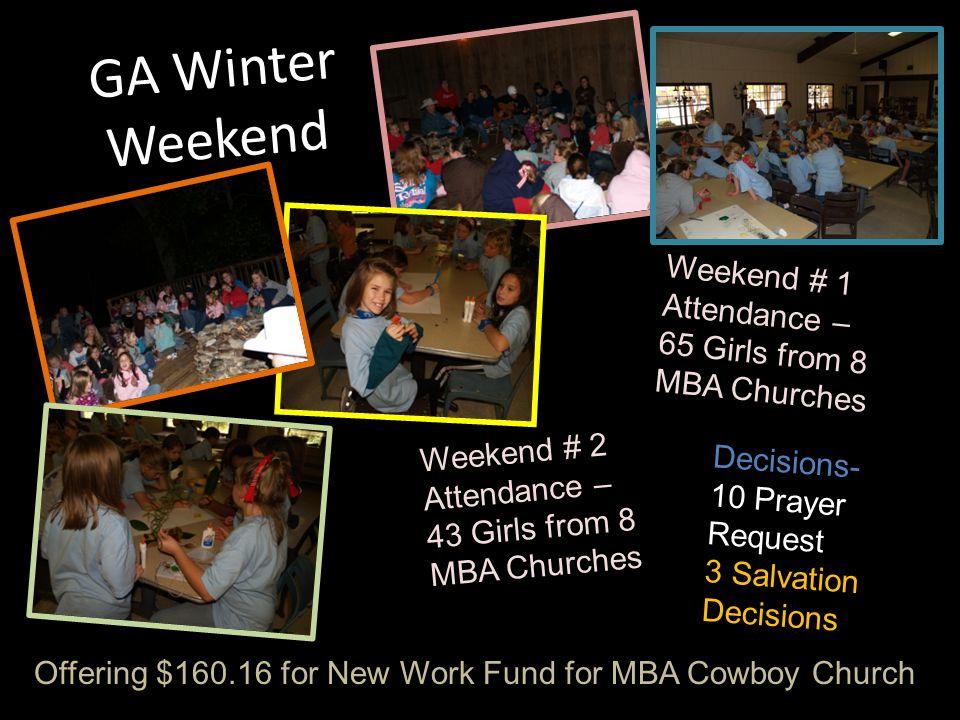 GA Winter Weekend Weekend # 1 Attendance – 65 Girls from 8 MBA Churches Weekend # 2 Attendance – 43 Girls from 8 MBA Churches Decisions- 10 Prayer Req