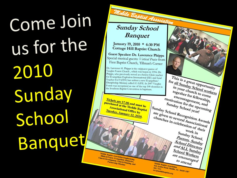 Come Join us for the 2010 Sunday School Banquet