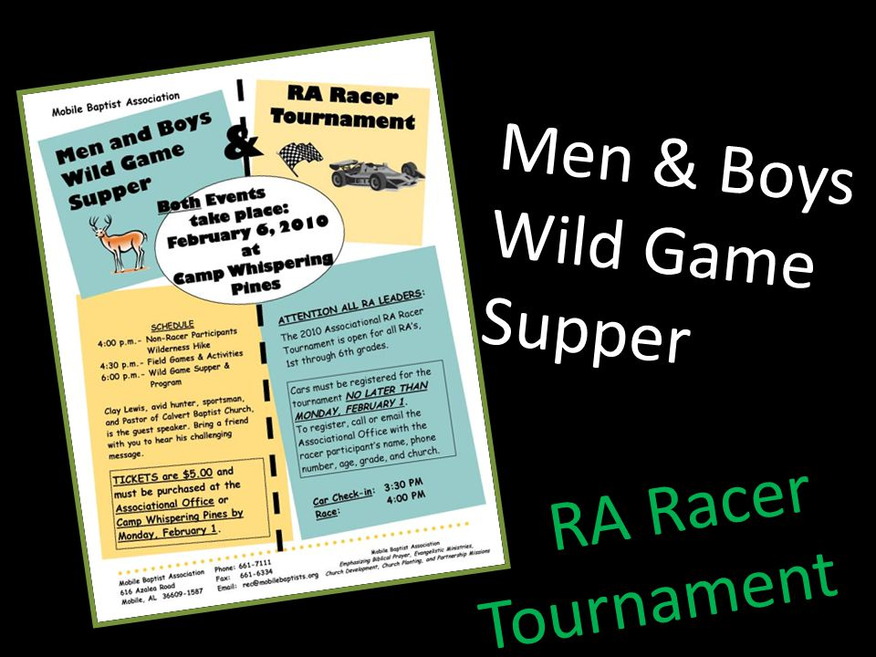 Men & Boys Wild Game Supper RA Racer Tournament