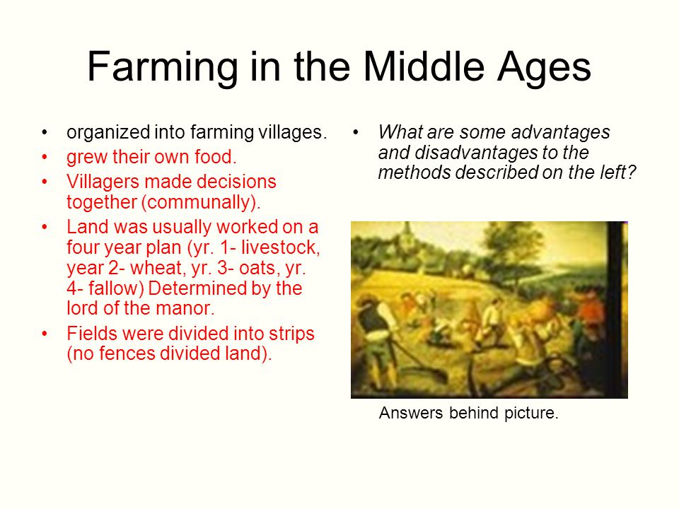 Farming in the Middle Ages organized into farming villages. grew their own food. Villagers made decisions together (communally). Land was usually work