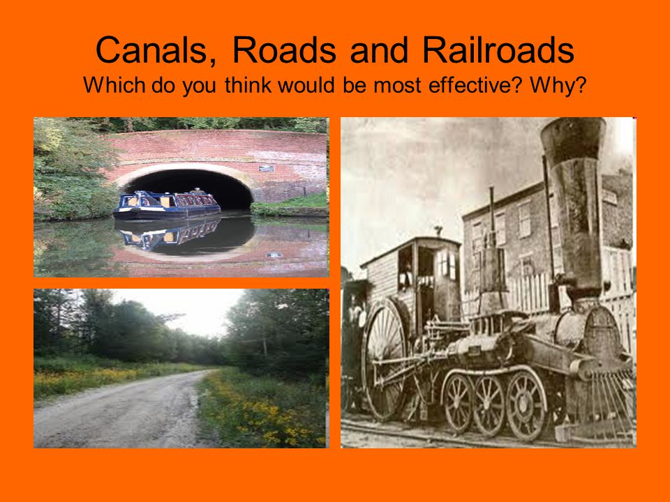 Canals, Roads and Railroads Which do you think would be most effective? Why?
