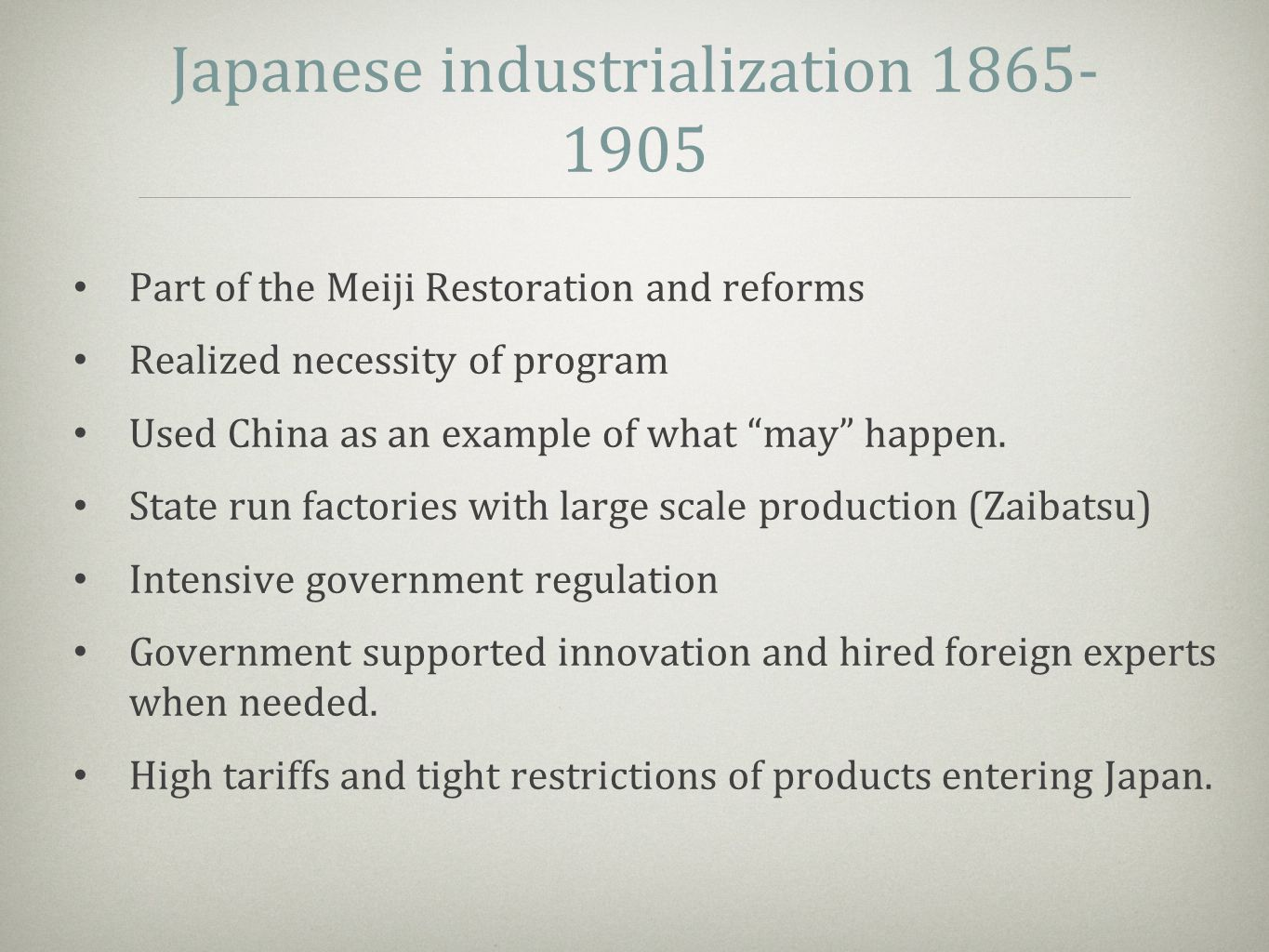 "Japanese industrialization 1865- 1905 Part of the Meiji Restoration and reforms Realized necessity of program Used China as an example of what ""may"" h"