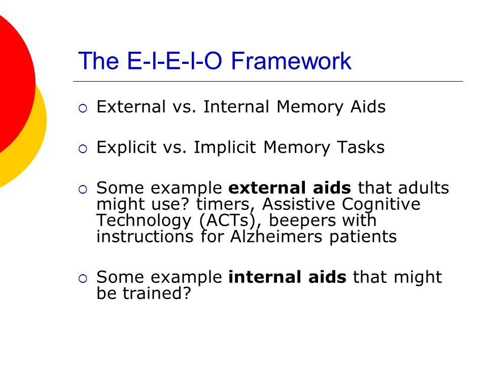 The E-I-E-I-O Framework  External vs. Internal Memory Aids  Explicit vs.