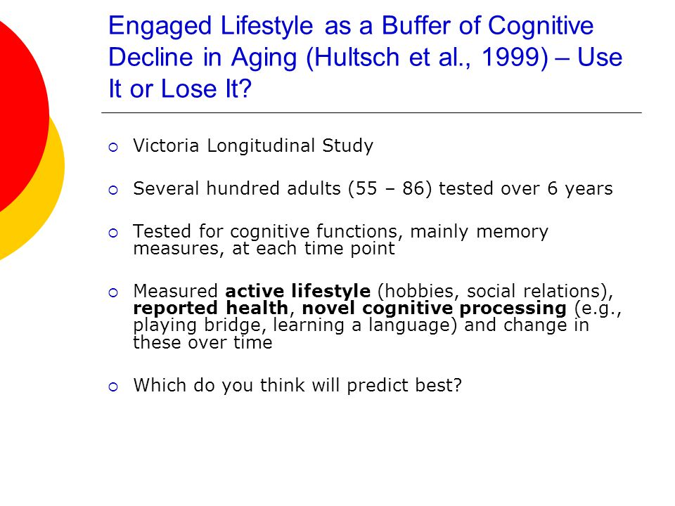 Engaged Lifestyle as a Buffer of Cognitive Decline in Aging (Hultsch et al., 1999) – Use It or Lose It.