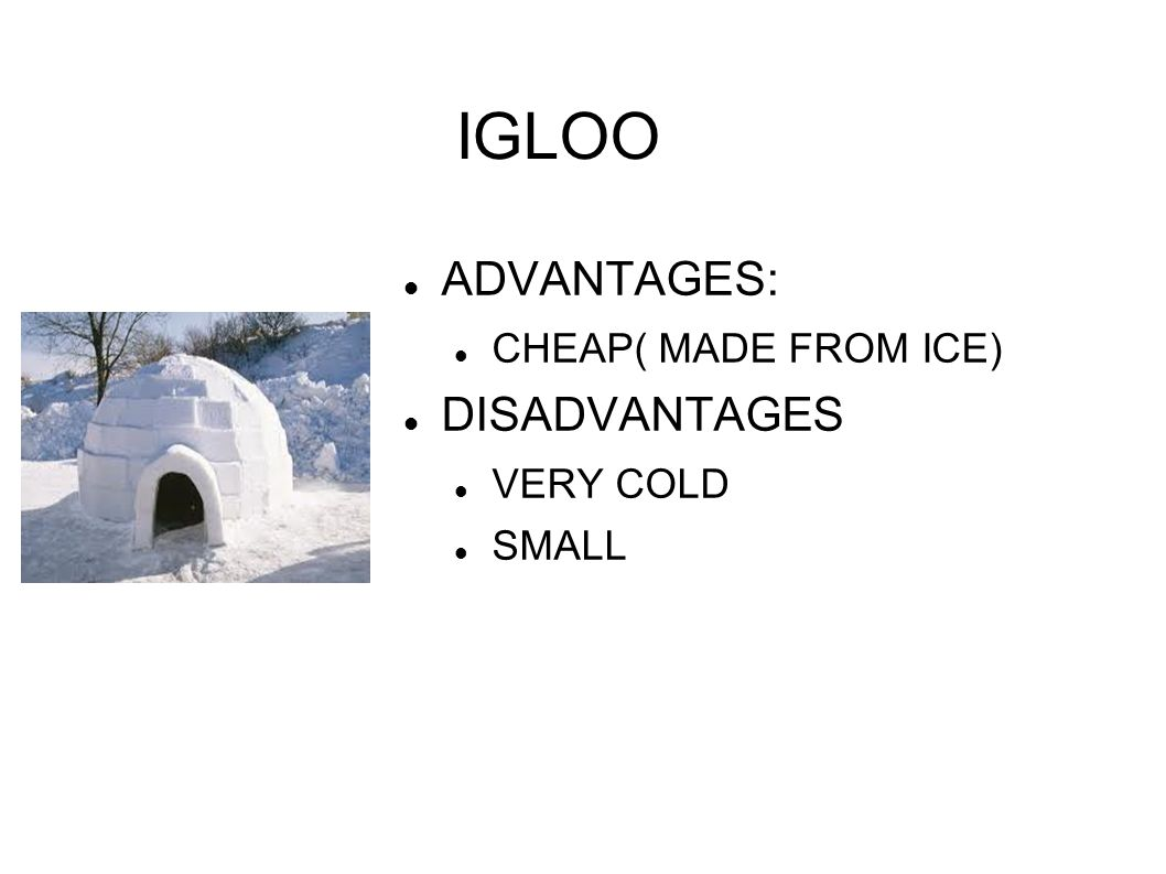 IGLOO ADVANTAGES: CHEAP( MADE FROM ICE) DISADVANTAGES VERY COLD SMALL