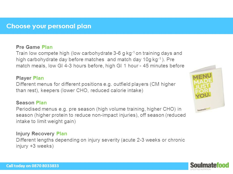 Choose your personal plan Pre Game Plan Train low compete high (low carbohydrate 3-6 g.