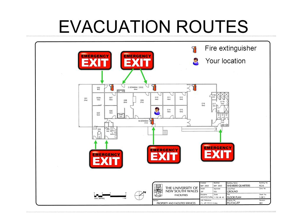 EVACUATION ROUTES Fire extinguisher Your location