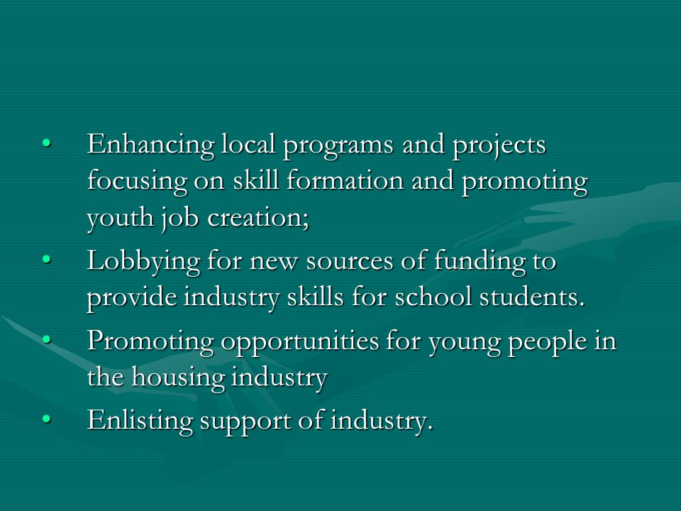 Enhancing local programs and projects focusing on skill formation and promoting youth job creation;Enhancing local programs and projects focusing on skill formation and promoting youth job creation; Lobbying for new sources of funding to provide industry skills for school students.Lobbying for new sources of funding to provide industry skills for school students.