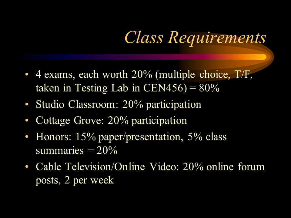 Class Requirements 4 exams, each worth 20% (multiple choice, T/F, taken in Testing Lab in CEN456) = 80% Studio Classroom: 20% participation Cottage Grove: 20% participation Honors: 15% paper/presentation, 5% class summaries = 20% Cable Television/Online Video: 20% online forum posts, 2 per week