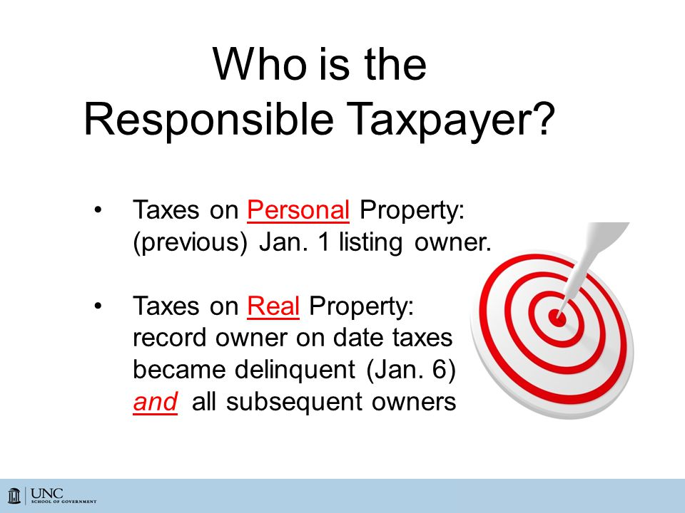 Who is the Responsible Taxpayer. Taxes on Personal Property: (previous) Jan.