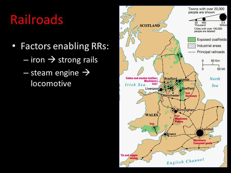 Railroads Factors enabling RRs: – iron  strong rails – steam engine  locomotive