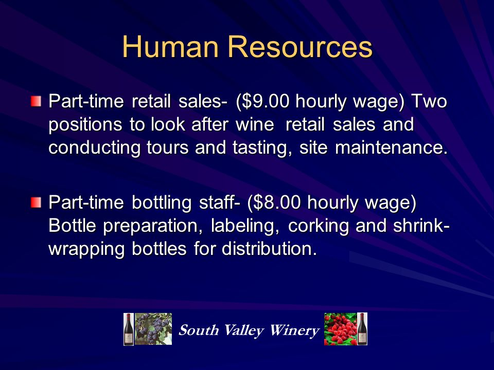 Human Resources Part-time retail sales- ($9.00 hourly wage) Two positions to look after wine retail sales and conducting tours and tasting, site maintenance.