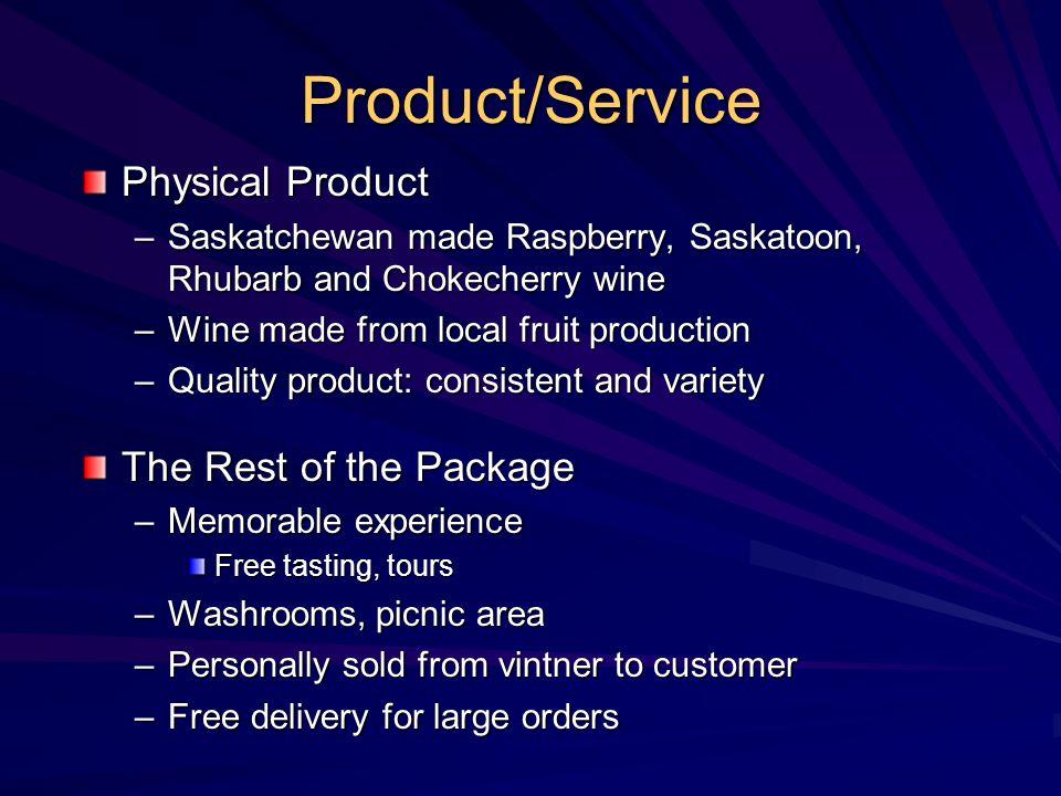 Product/Service Physical Product –Saskatchewan made Raspberry, Saskatoon, Rhubarb and Chokecherry wine –Wine made from local fruit production –Quality