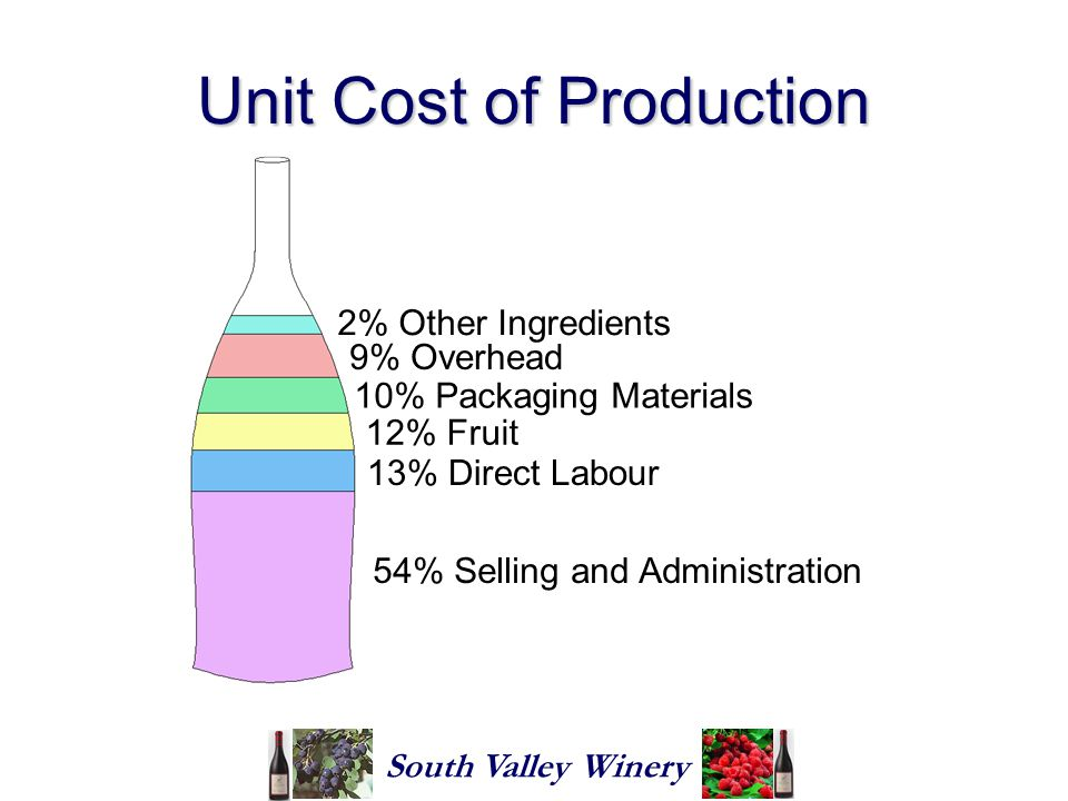 Unit Cost of Production South Valley Winery 54% Selling and Administration 12% Fruit 10% Packaging Materials 9% Overhead 2% Other Ingredients 13% Direct Labour