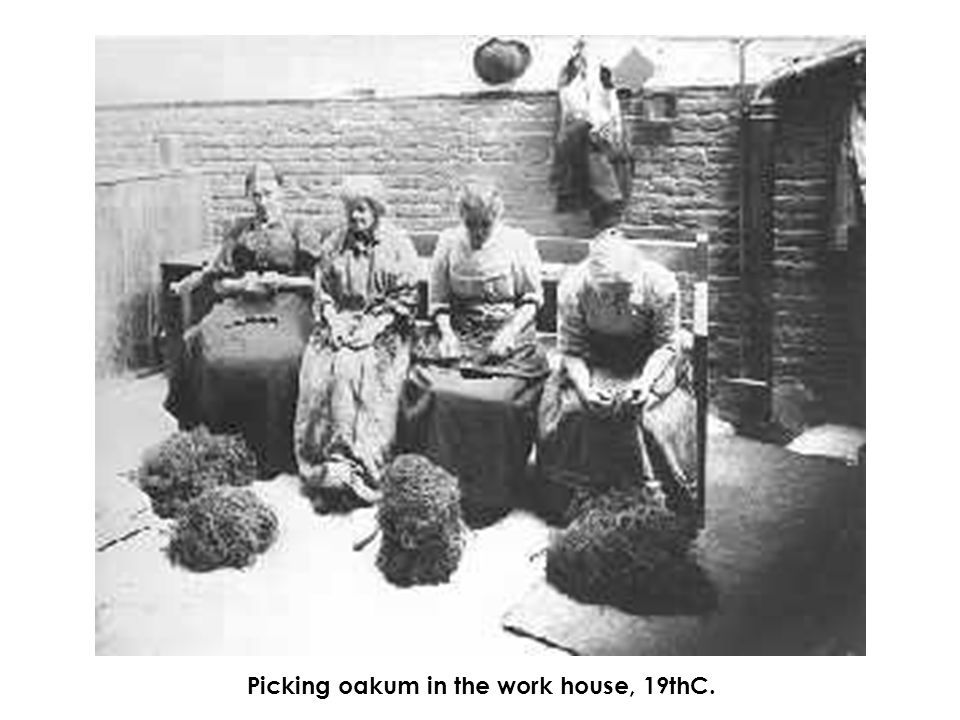 Picking oakum in the work house, 19thC.