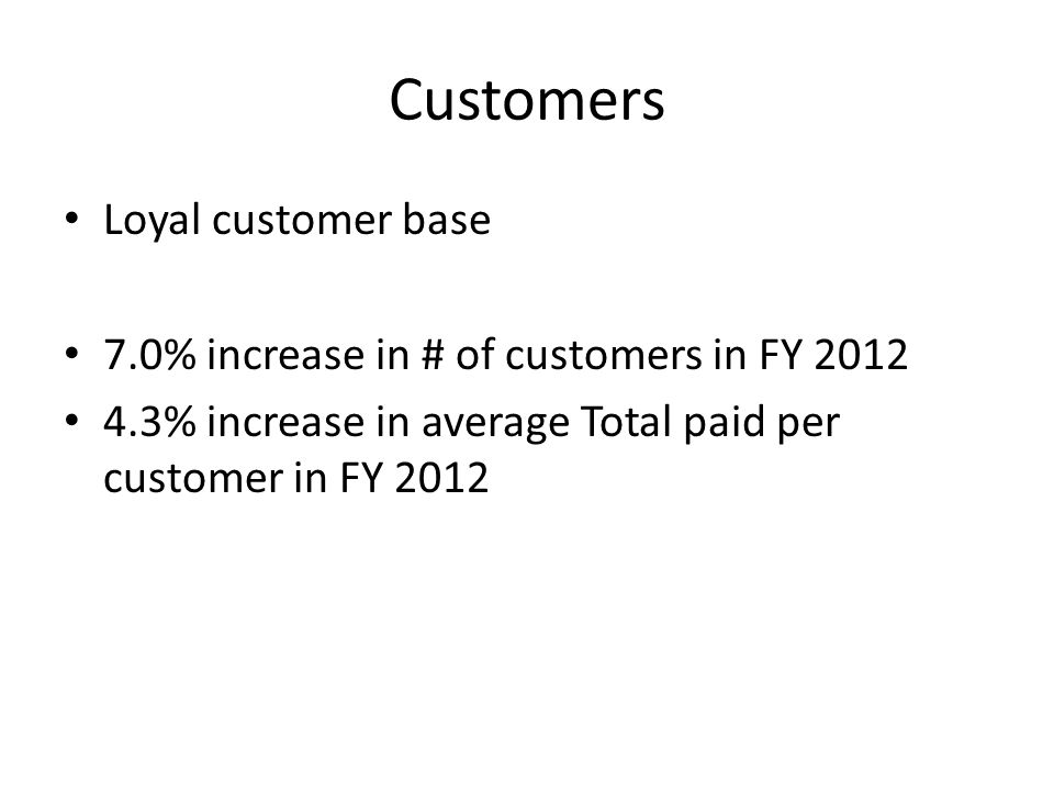 Customers Loyal customer base 7.0% increase in # of customers in FY 2012 4.3% increase in average Total paid per customer in FY 2012