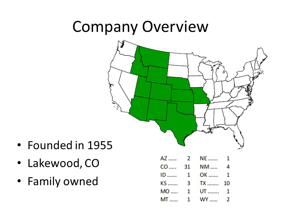 Company Overview Founded in 1955 Lakewood, CO Family owned