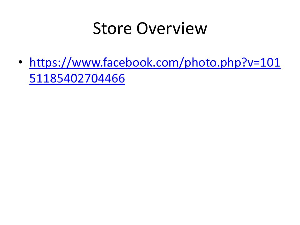 Store Overview https://www.facebook.com/photo.php v=101 51185402704466 https://www.facebook.com/photo.php v=101 51185402704466
