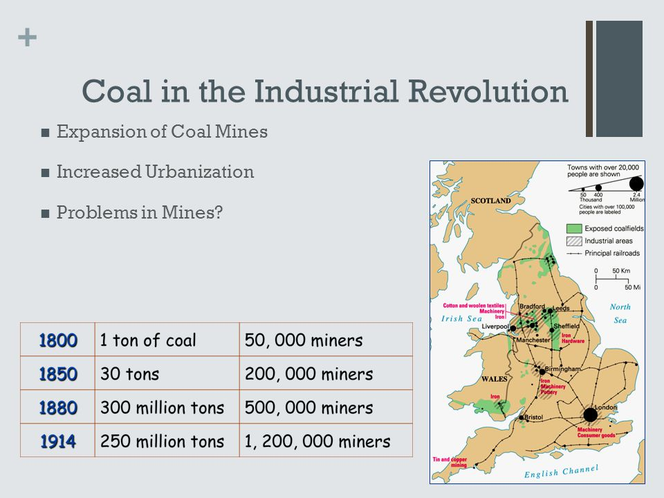 + Coal in the Industrial Revolution Expansion of Coal Mines Increased Urbanization Problems in Mines?