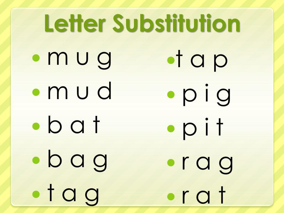 Letter Substitution m u g m u d b a t b a g t a g t a p p i g p i t r a g r a t