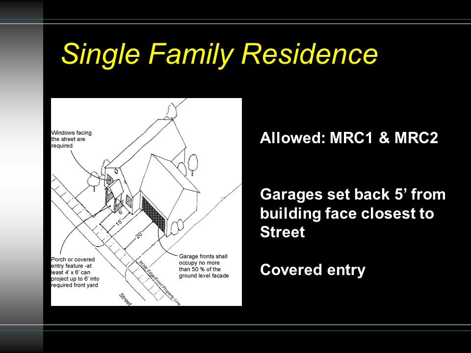 Allowed: MRC1 & MRC2 Garages set back 5' from building face closest to Street Covered entry Single Family Residence