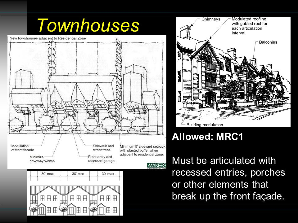 Allowed: MRC1 Must be articulated with recessed entries, porches or other elements that break up the front façade.