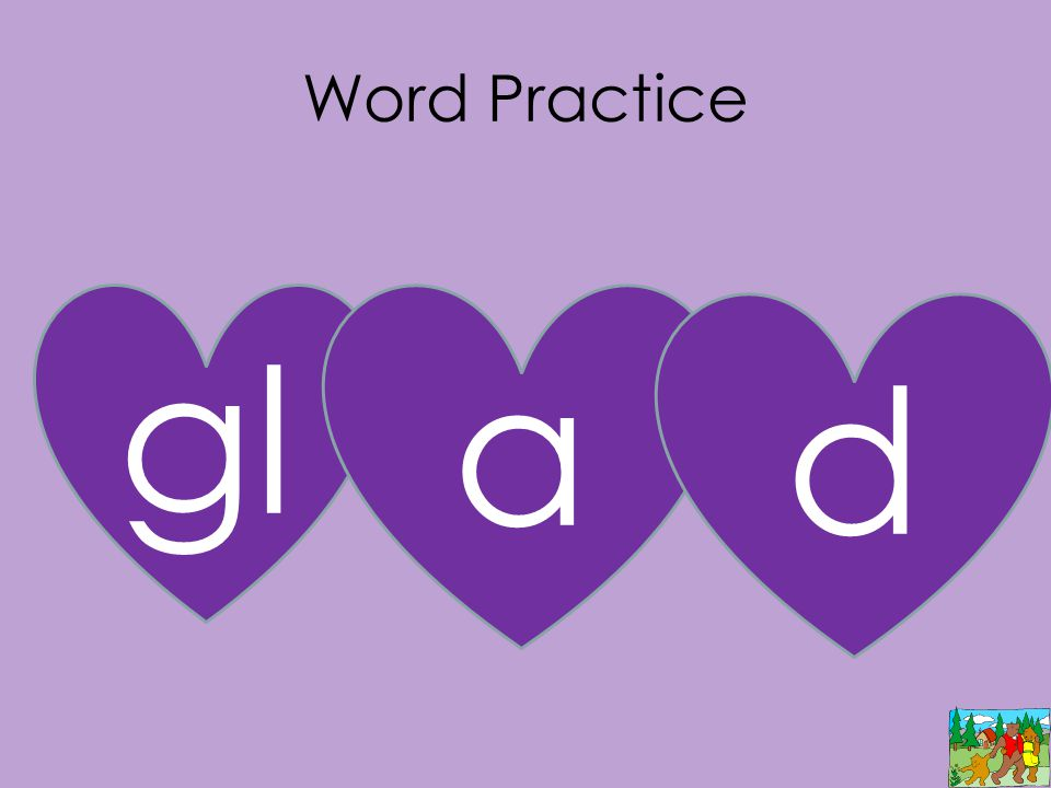 Word Practice gl a d