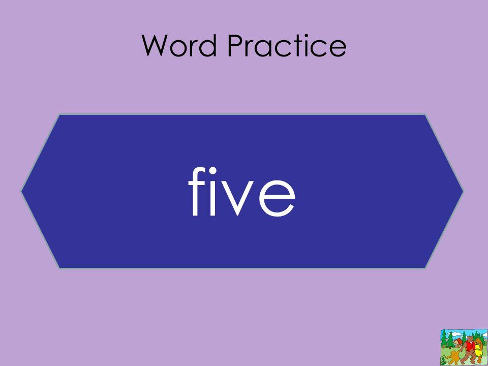 Word Practice five