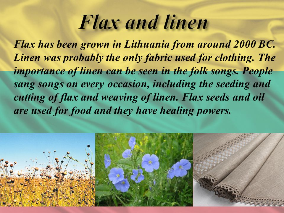 Flax has been grown in Lithuania from around 2000 BC. Linen was probably the only fabric used for clothing. The importance of linen can be seen in the