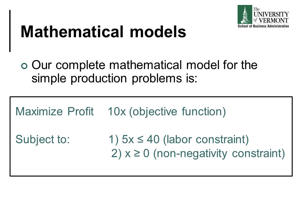 Mathematical models Our complete mathematical model for the simple production problems is: Maximize Profit 10x (objective function) Subject to: 1) 5x
