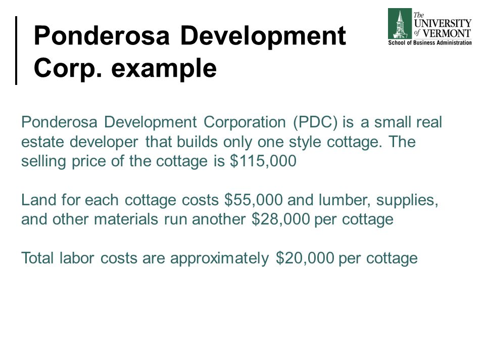 Ponderosa Development Corp. example Ponderosa Development Corporation (PDC) is a small real estate developer that builds only one style cottage. The s