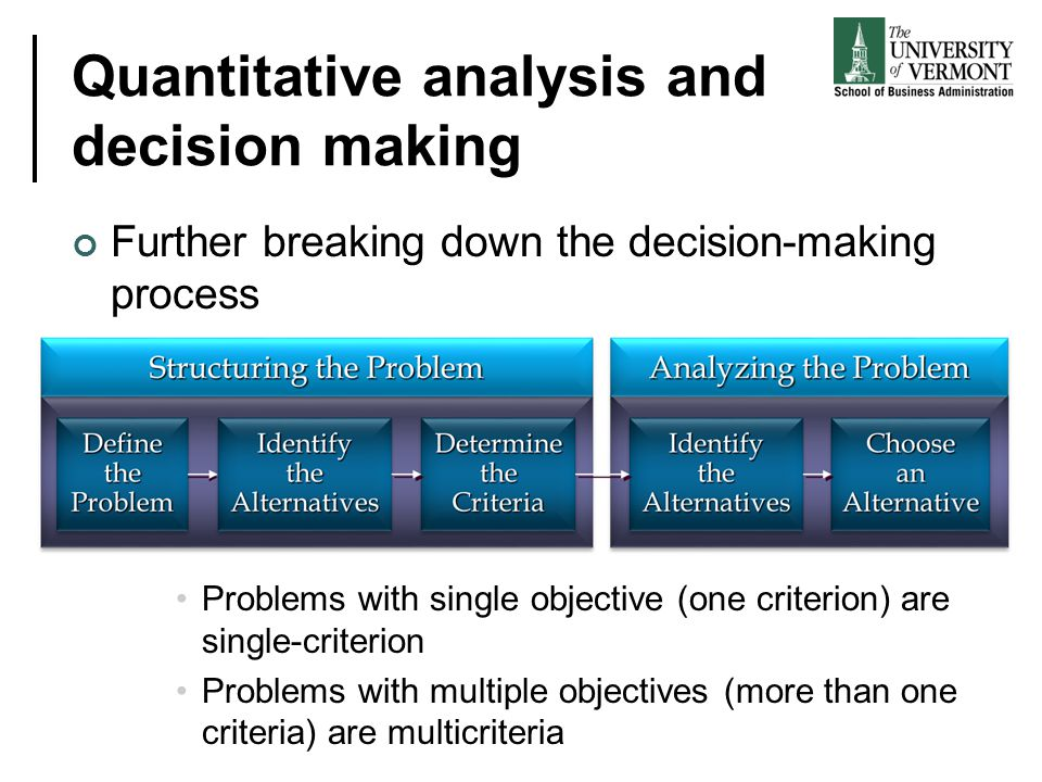 Quantitative analysis and decision making Further breaking down the decision-making process Problems with single objective (one criterion) are single-
