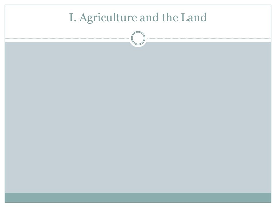 I. Agriculture and the Land