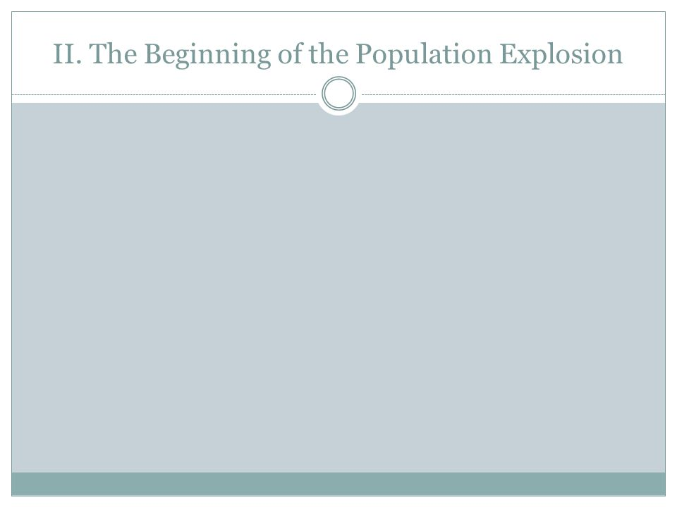 II. The Beginning of the Population Explosion