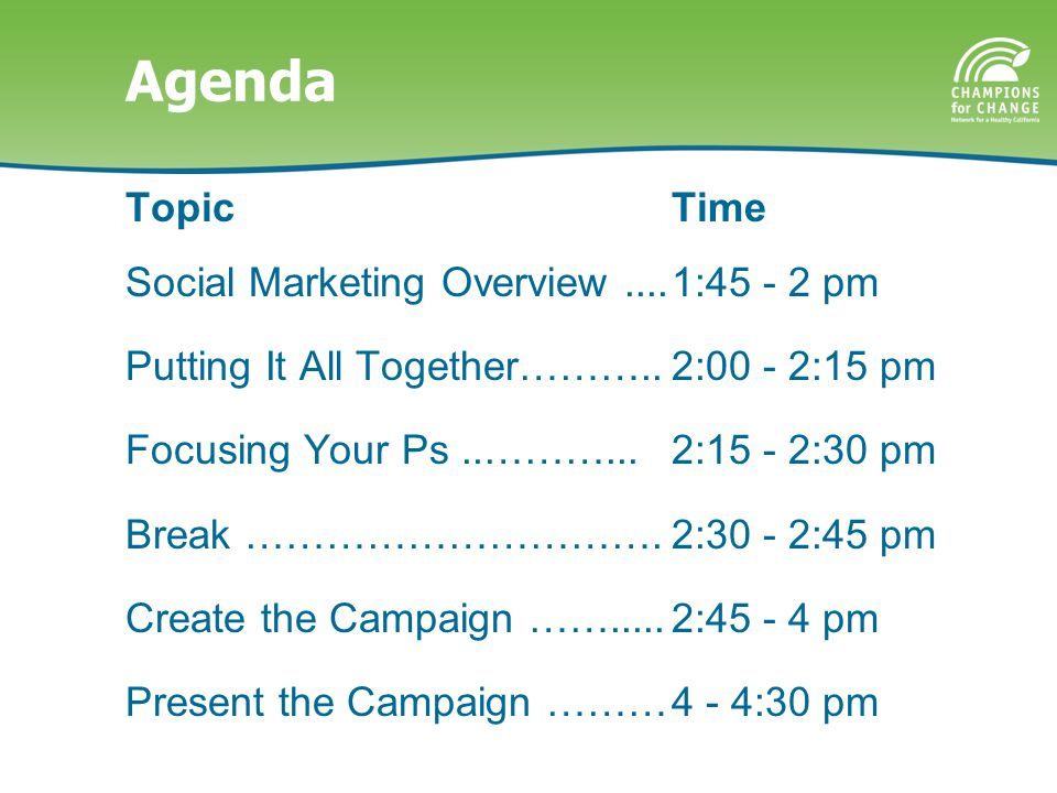 Agenda Topic Social Marketing Overview.... Putting It All Together………..