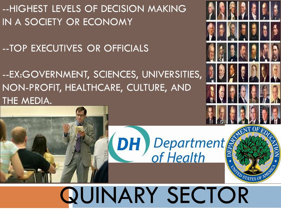QUINARY SECTOR --HIGHEST LEVELS OF DECISION MAKING IN A SOCIETY OR ECONOMY --TOP EXECUTIVES OR OFFICIALS --EX:GOVERNMENT, SCIENCES, UNIVERSITIES, NON-PROFIT, HEALTHCARE, CULTURE, AND THE MEDIA.