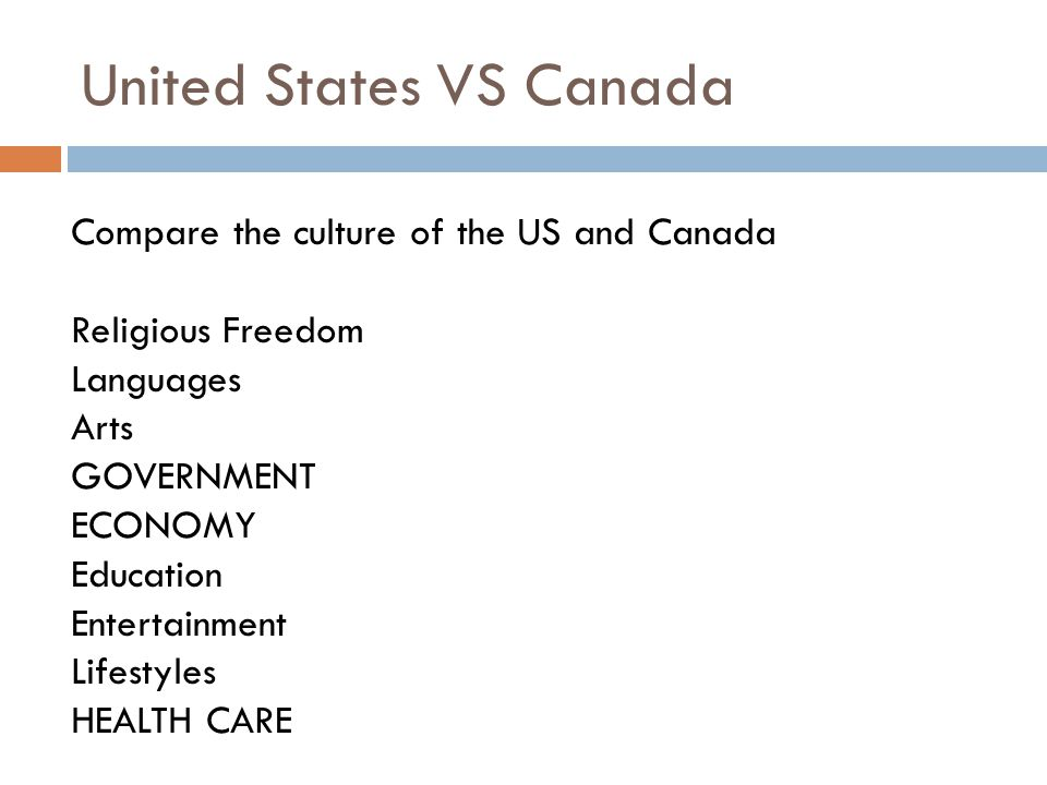 United States VS Canada Compare the culture of the US and Canada Religious Freedom Languages Arts GOVERNMENT ECONOMY Education Entertainment Lifestyle