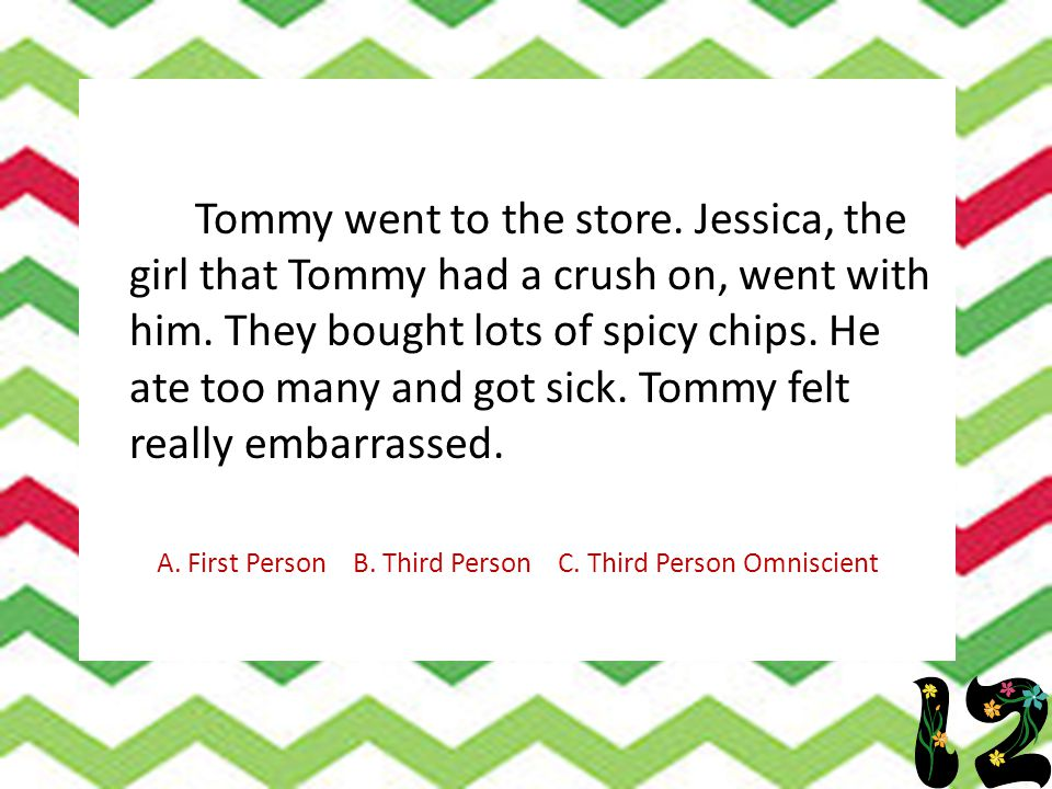Tommy went to the store. Jessica, the girl that Tommy had a crush on, went with him. They bought lots of spicy chips. He ate too many and got sick. To