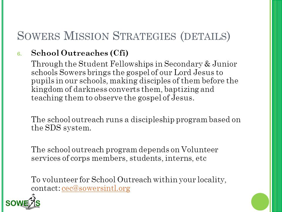 S OWERS M ISSION S TRATEGIES ( DETAILS ) 6.
