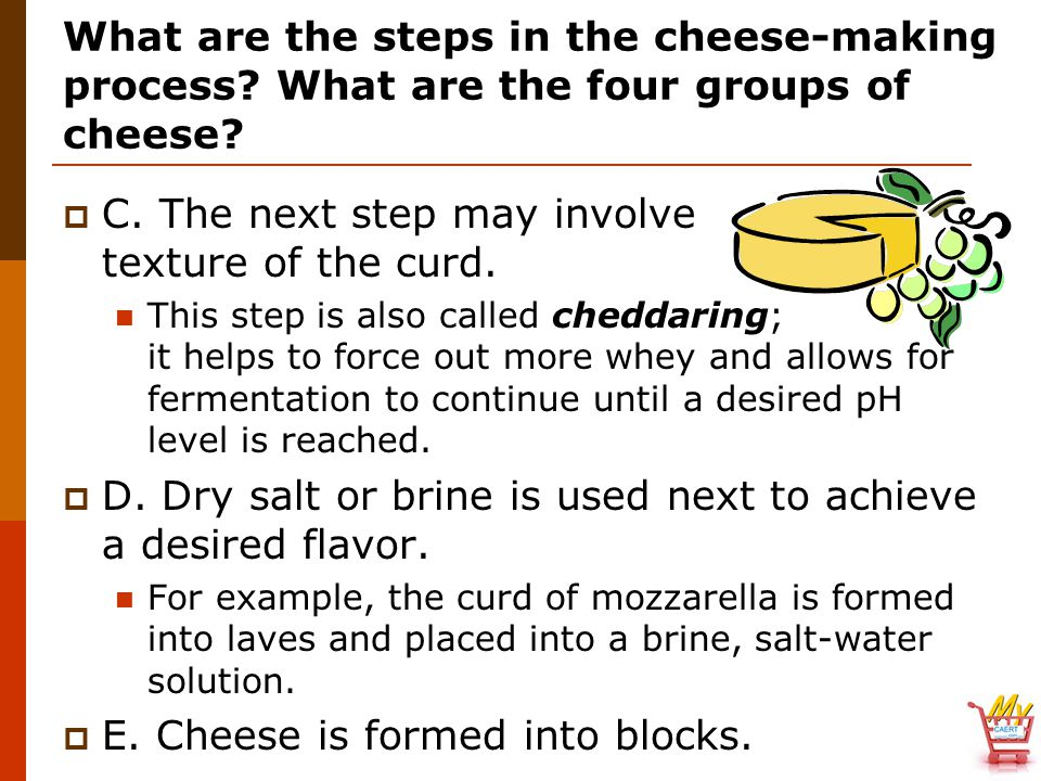 What are the steps in the cheese-making process. What are the four groups of cheese.