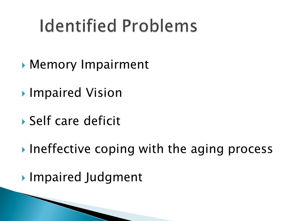  Memory Impairment  Impaired Vision  Self care deficit  Ineffective coping with the aging process  Impaired Judgment