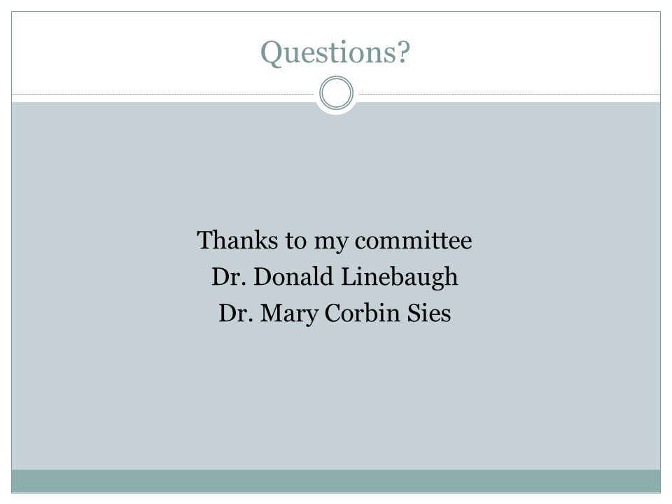 Questions? Thanks to my committee Dr. Donald Linebaugh Dr. Mary Corbin Sies