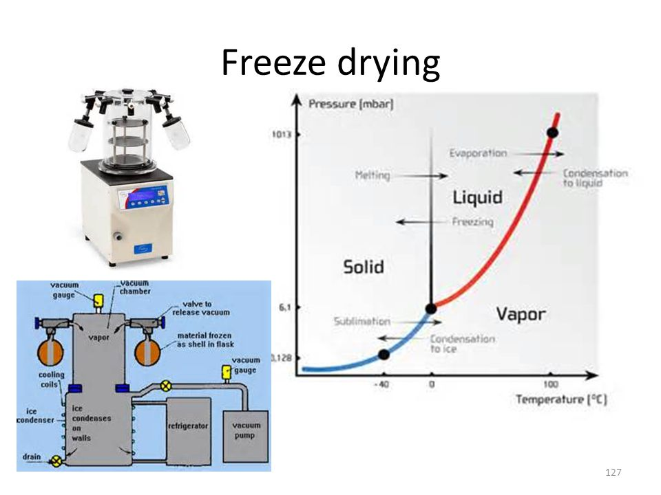 Freeze drying 127