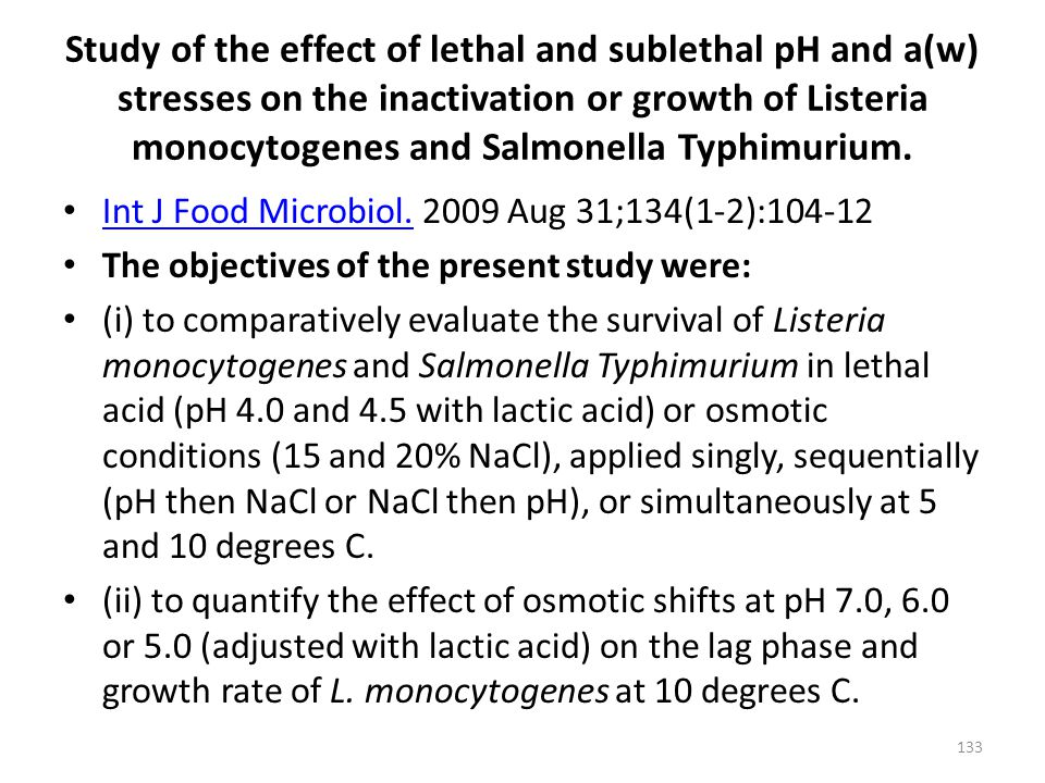 Study of the effect of lethal and sublethal pH and a(w) stresses on the inactivation or growth of Listeria monocytogenes and Salmonella Typhimurium. I