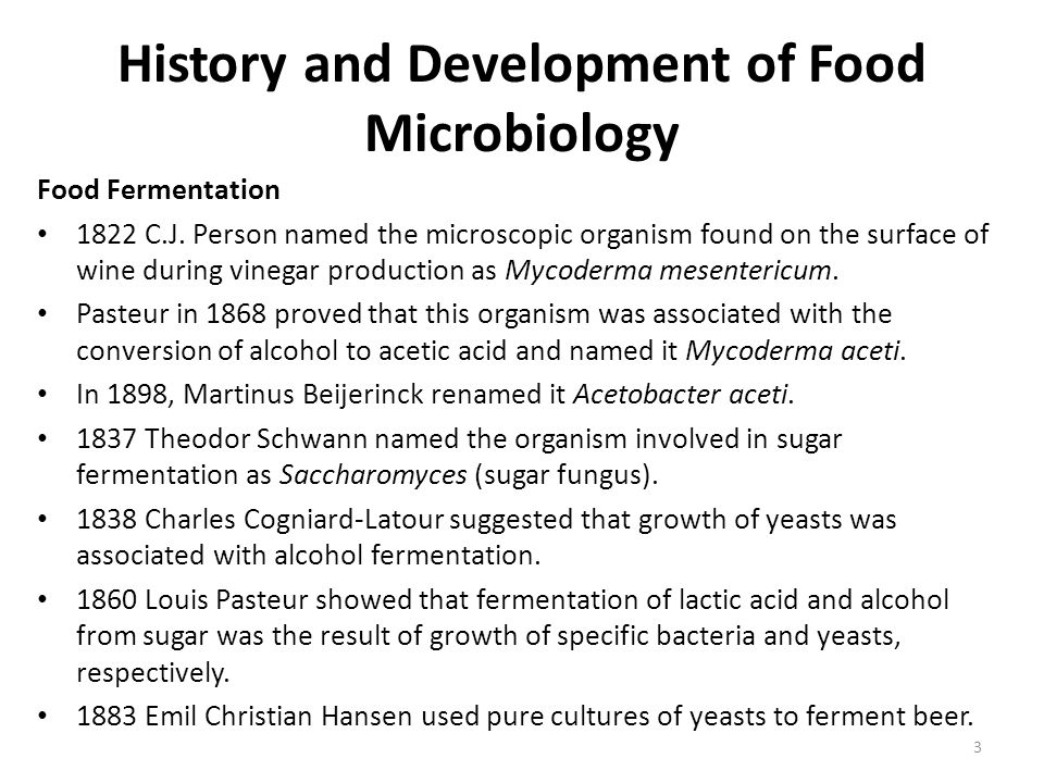 History and Development of Food Microbiology Food Fermentation 1822 C.J. Person named the microscopic organism found on the surface of wine during vin