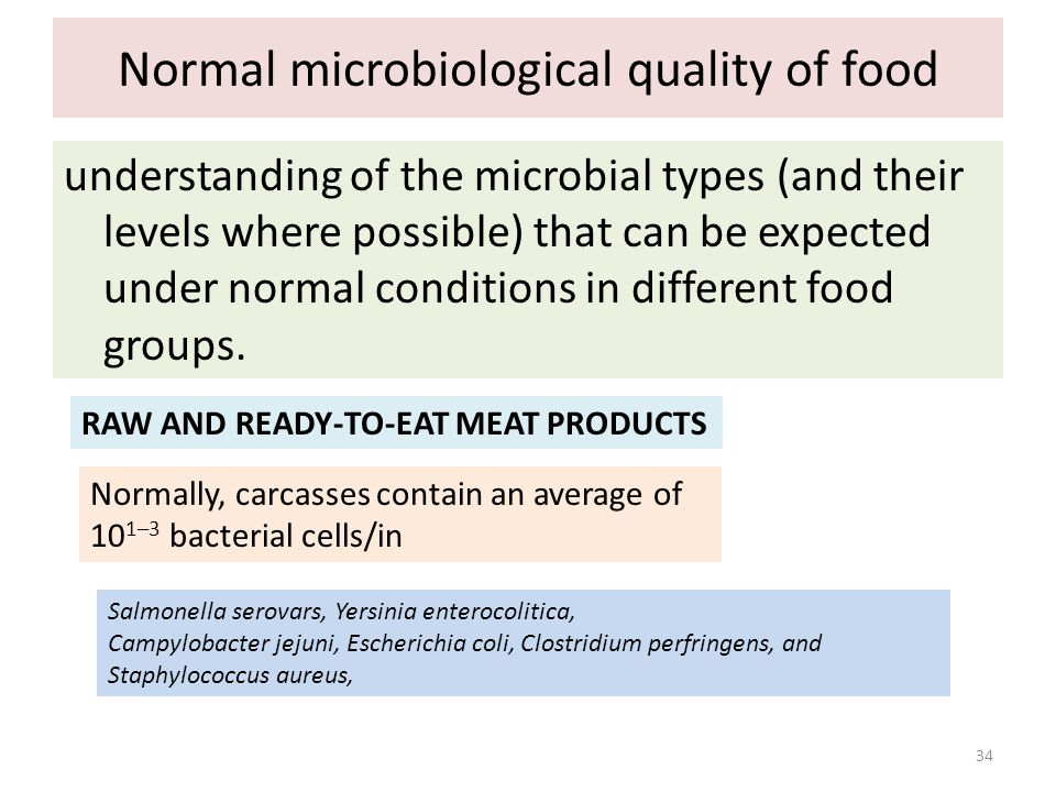 Normal microbiological quality of food understanding of the microbial types (and their levels where possible) that can be expected under normal condit