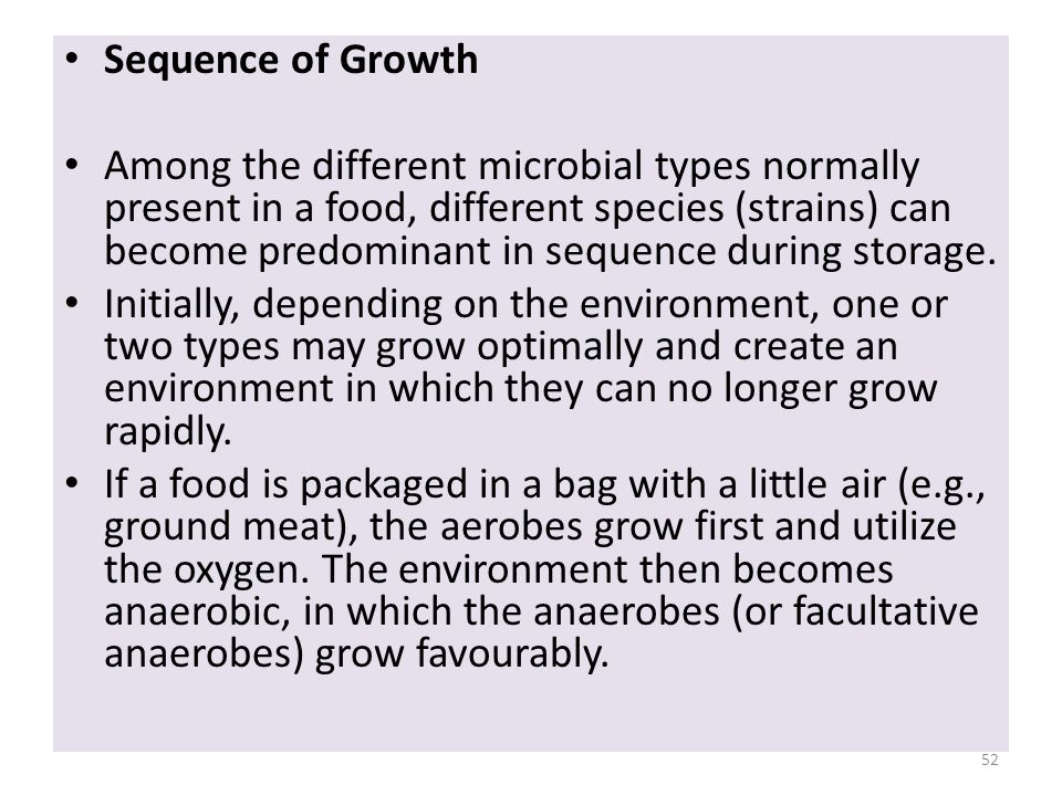 Sequence of Growth Among the different microbial types normally present in a food, different species (strains) can become predominant in sequence duri